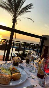 Sonnenuntergang vom Restaurant am Kyllini Strand
