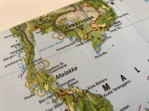 Landkartenetui für Reisedokumente