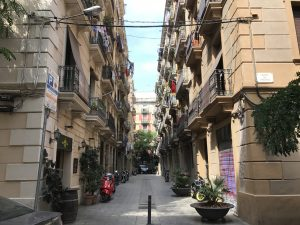 Gassen im Viertel La Barceloneta Barcelona