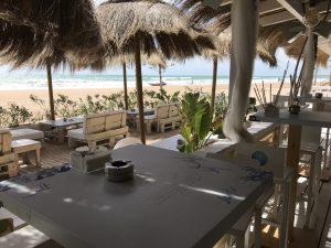 Strandbar La Loma Traumstrand Playa La Barrosa Andalusien