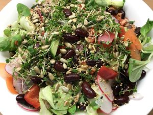 Sonnenblumenkerne und Sesam - geröstet - hier über Salat